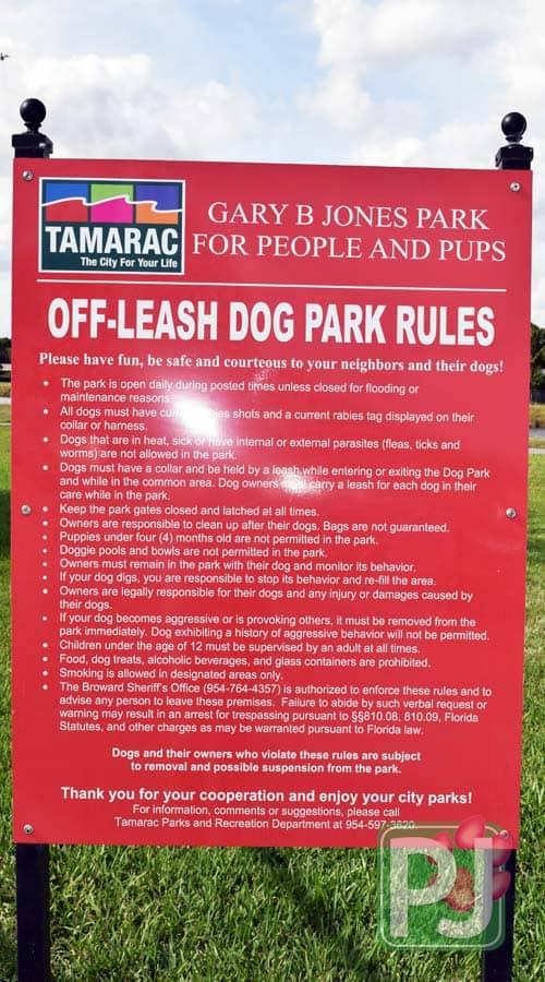 Gary B Jones Dog Park Rules
