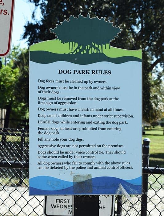 Canine Corner at Dreher Park Rules
